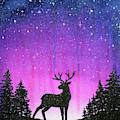 Winter Forest Galaxy Reindeer by Olga Shvartsur