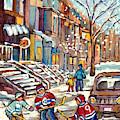 Winter Staircases Hockey Art Montreal Paintings Downtown Scenes Verdun Plateau Psc Streets C Spandau by Carole Spandau