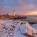 Winter Sunrise At Portland Head Light by Jesse MacDonald