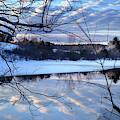 Winter Sunset Over The Messalonskee Stream by John Meader