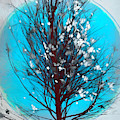 Winter Tree In Beachy Blues by Debra and Dave Vanderlaan