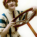 Woman Driver At Steering Wheel by Graphicaartis