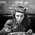 Woman Eating Spaghetti In Restaurant 5 by Alfred Eisenstaedt