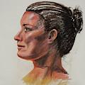 Woman Head Study Pastel Portrait  by Irina Sztukowski