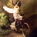Woman On Bicycle by Robert G Kernodle