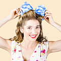 Woman Playing With Hair Tie. Retro Accessories by Jorgo Photography - Wall Art Gallery