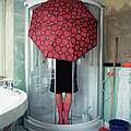 Woman Standing Under Umbrella In Shower by Silvia Otte