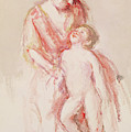 Woman With A Nude Boy At Her Side by Mary Stevenson Cassatt