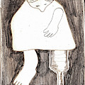 Woman With A Wooden Leg Drawing by Artist Dot