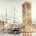 World Trade Center And Constellation Ship Landscape, Baltimore, Maryland by Marianna Mills