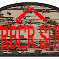 Worn Barber Shop Wooden Store Sign by Bigalbaloo Stock