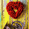Wreath Heart And French Horn by Garry Gay