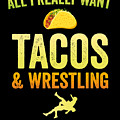 Wrestling All I Want Taco Silhouette Gift Light by J P
