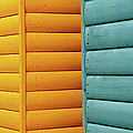 Yellow & Blue Beach Huts Abstract by Kevin Button
