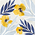 Yellow And Navy 1- Floral Art By Linda Woods by Linda Woods