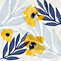 Yellow And Navy 2- Floral Art By Linda Woods by Linda Woods