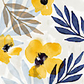 Yellow And Navy 3- Floral Art By Linda Woods by Linda Woods