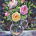 Yellow And Pink Roses Bouquet Floral Impressionism  by Irina Sztukowski