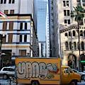 Yellow Graffiti Truck Downtown La by Matt Quest