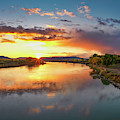 Yellowstone River Sunset by Leland D Howard