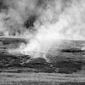 Yellowstone Steam 02 Black And White by Bruce Gourley