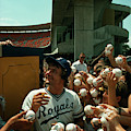 Young Fans Hold Up Baseballs For Royals Star George Brett To Sign by Ted Spiegel