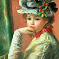 Young Girl In A White Hat By Renoir by Pierre Auguste Renoir