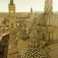Zaragoza Spain Cathedral Rooftop by Joan Carroll
