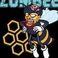 Zombee Zombie Bee Halloween For Beekeeper Apiarist Dark Light by Nikita Goel