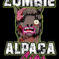 Zombie Alpaca Lips Halloween Pun Llama Alpacalypse Dark by Nikita Goel