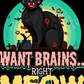 Zombie Cat Halloween Shirt Want Brains Right Meow Pun by Festivalshirt