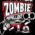 Zombie Repellent Halloween Funny Gun Art Dark by Nikita Goel