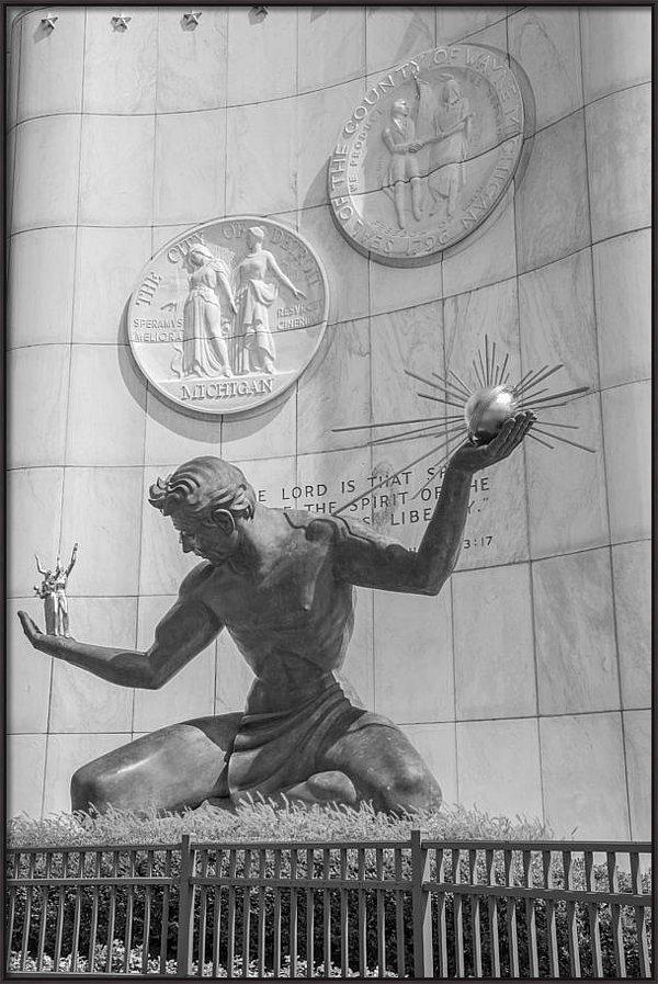 John McGraw - Spirit of Detroit Black a... Print