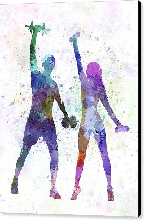 Pablo Romero - Woman Exercising With Man... Print