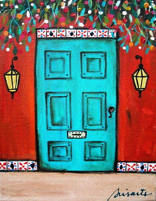 Pristine Cartera Turkus - Mexican Door Painting Print