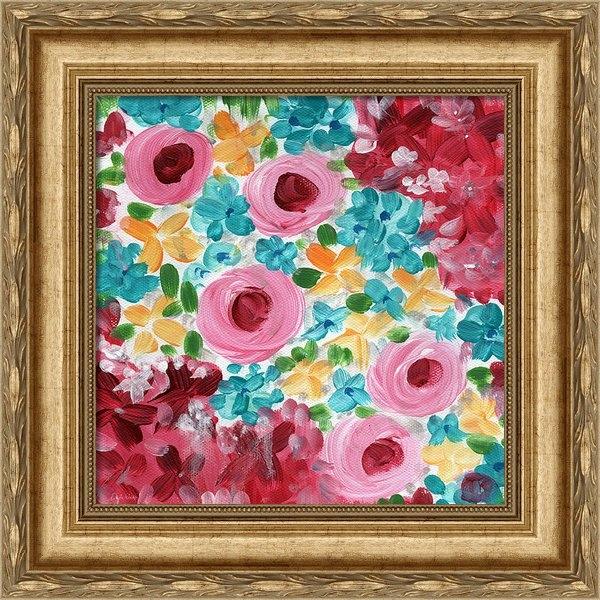 Linda Woods - Bouquet- expressionist fl... Print