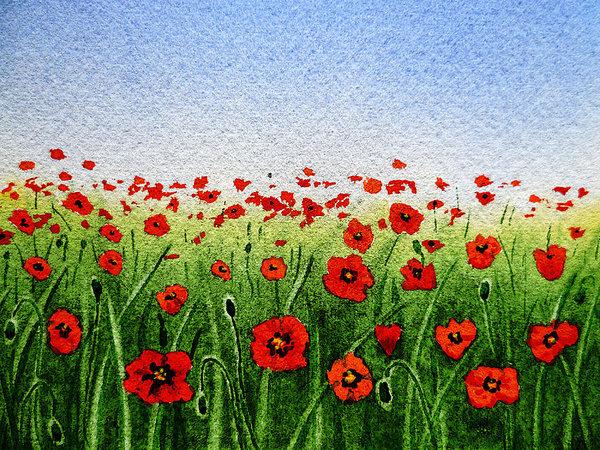 Irina Sztukowski - Red Poppies Green Field A... Print