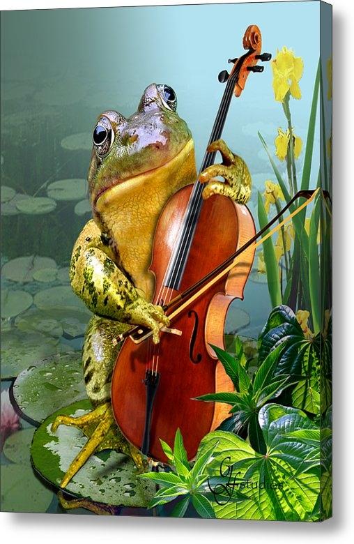 Gina Femrite - Humorous scene frog playi... Print