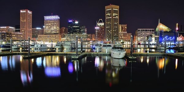 Frozen in Time Fine Art Photography - A Panoramic Baltimore Nig... Print