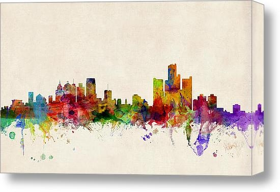 Michael Tompsett - Detroit Michigan Skyline Print