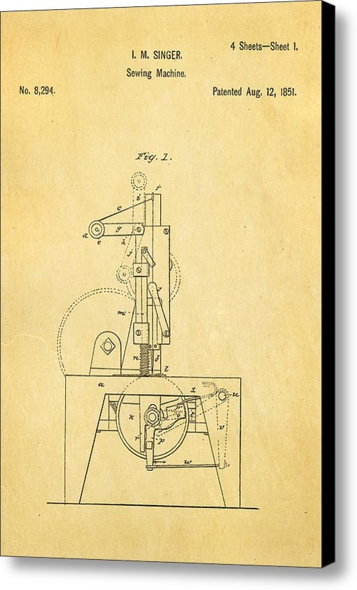 Ian Monk - Singer Sewing Machine Pat... Print