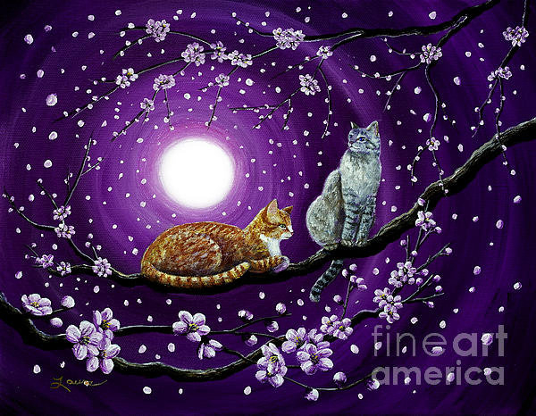 Laura Iverson - Cats in Dancing Cherry Bl... Print