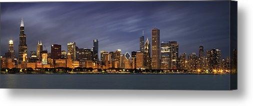 Adam Romanowicz - Chicago Skyline at Night ... Print