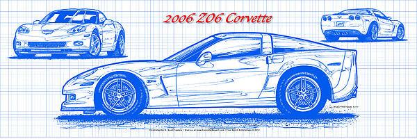 K Scott Teeters - 2006 Z06 Corvette Bluepri... Print