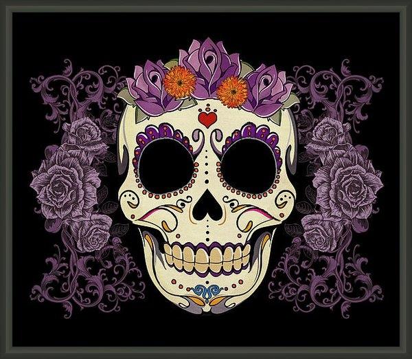 Tammy Wetzel - Vintage Sugar Skull and R... Print