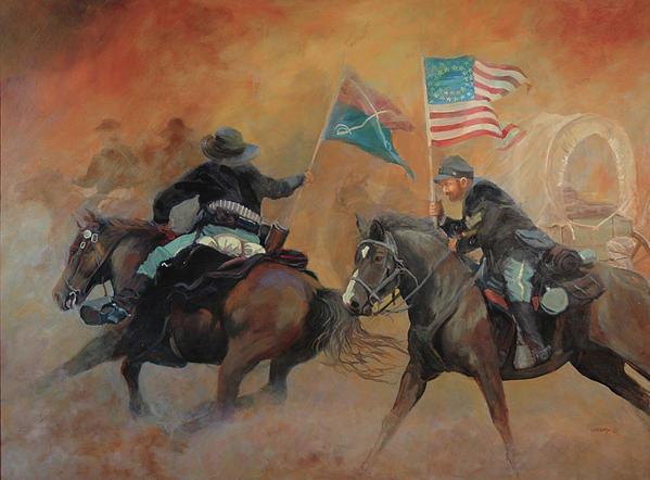 Mary Ann Cherry - Sunset Rescue - 7th Caval... Print