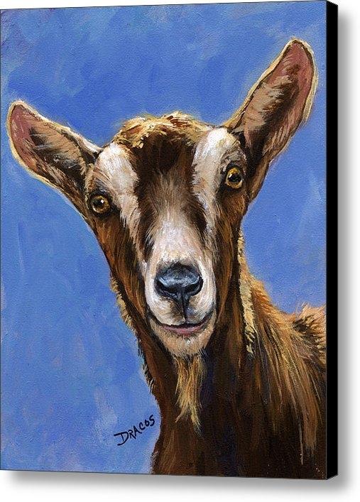 Dottie Dracos - Toggenburg Goat on Blue Print