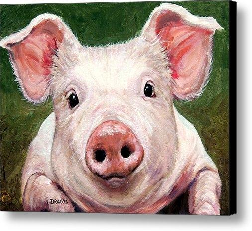 Dottie Dracos - Sweet Little Piglet on Gr... Print