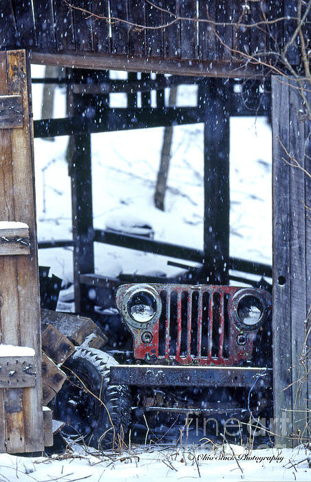 Ohio Stock Photography - Old Willys Jeep in Old Ba... Print