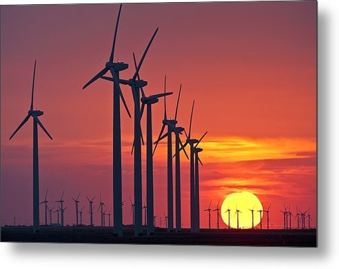 Science Photo Library - Wind turbines at sunset Print